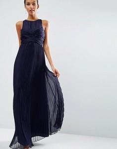 Плиссированное платье макси ASOS WEDDING - Темно-синий
