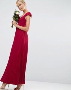 Платье макси с кружевом и отделкой плиссе ASOS WEDDING - Красный