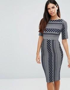 Платье-футляр с рукавами 3/4 и принтом TFNC - Синий