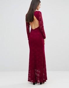 Кружевное платье макси с открытой спиной City Goddess - Красный