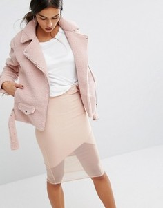 Байкерская куртка из искусственной овчины Missguided - Розовый