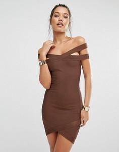 Бандажное платье мини премиум-класса с вырезом лодочкой Missguided - Коричневый