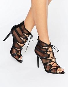 Босоножки на каблуке со шнуровкой Public Desire Nita - Черный