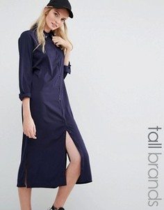 Платье-рубашка миди с вышивкой Daisy Street Tall - Темно-синий