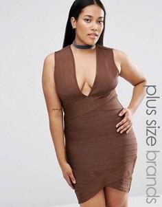 Бандажное платье мини Missguided Plus - Коричневый