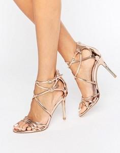 Золотистые сандалии на каблуке Faith Lizzie - Золотой