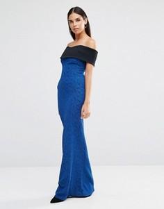 Платье макси с открытыми плечами Vesper - Синий