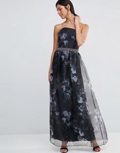Платье-бандо макси с цветочным принтом и отделкой на талии Little Mistress - Черный