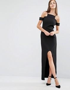 Платье макси с вырезами и асимметричным краем The 8th Sign - Черный