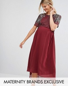Платье для беременных с отделкой и асимметричным краем Maya Maternity - Красный