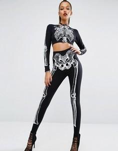 Леггинсы с принтом скелета Missguided Halloween - Черный