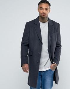 Полушерстяное темно-серое меланжевое пальто ASOS - Серый