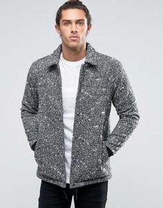 Черно-белая куртка с добавлением шерсти ASOS - Черный