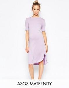 Платье для беременных с закругленным подолом ASOS Maternity - Фиолетовый