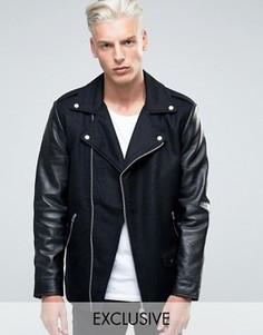 Шерстяная байкерская куртка с кожаными рукавами Black Dust - Черный