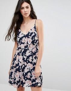 Короткое приталенное платье с принтом Greylin Serina - Темно-синий
