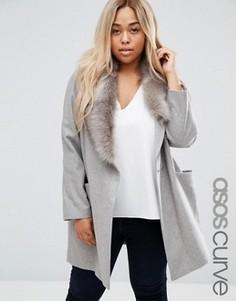 Пальто с асимметричным съемным воротником из искусственного меха ASOS CURVE - Серый