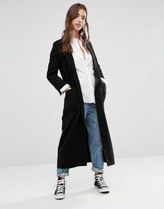 Удлиненное пальто с поясом Boohoo - Черный