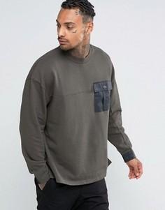 Oversize-свитшот с тканым карманом на груди ASOS - Зеленый