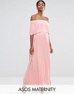 Платье макси для беременных с открытыми плечами и рюшами ASOS Maternity WEDDING - Розовый
