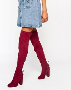 Бордовые ботфорты со шнуровкой сзади Public Desire Asha - Красный