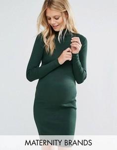 Вязаное платье с отворачивающимся воротником Mamalicious - Зеленый Mama.Licious