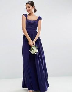 Драпированное платье макси с кружевной вставкой ASOS WEDDING - Темно-синий