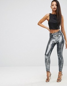 Супероблегающие брюки с отделкой пайетками ASOS NIGHT Premium - Серый