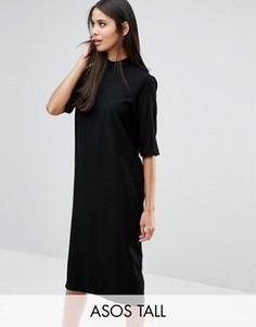 Платье миди с высокой горловиной ASOS TALL - Черный
