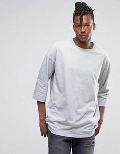 Серая oversize-футболка с рукавами 3/4 ASOS - Серый