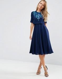 Декорированное приталенное платье миди с кроп-топом ASOS - Синий