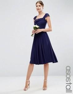 Платье миди с кружевными вставками ASOS TALL WEDDING - Темно-синий