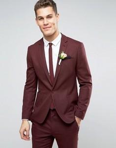 Бордовый фактурный пиджак скинни ASOS WEDDING - Красный