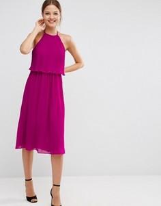 Двухслойное плиссированное платье миди ASOS - Фиолетовый