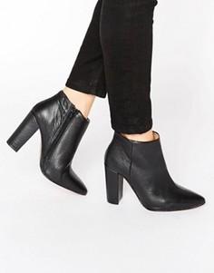 Черные кожаные ботильоны на высоком каблуке Selected Femme Thora - Черный