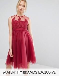 Выходное платье для беременных с вышивкой и юбкой из тюля Chi Chi London Maternity - Розовый