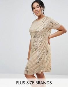 Декорированное цельнокройное платье Lovedrobe Luxe - Золотой