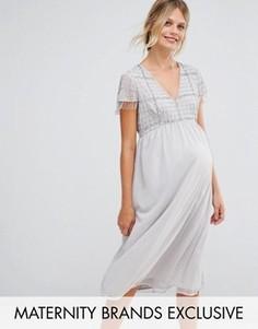 Платье миди для беременных с бахромой и пайетками Maya Maternity - Серебряный
