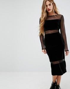 Платье-футляр миди с сетчатыми вставками First & I - Черный