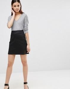 Черная стретчевая джинсовая юбка‑трапеция с разрезами ASOS - Черный