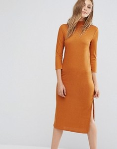 Платье миди с высоким вырезом и длинными рукавами Vila - Коричневый