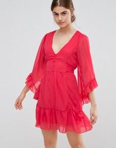 Короткое приталенное платье с оборками на кромке и рукавах Jasmine - Красный