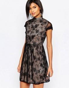 Кружевное платье с высокой горловиной и короткими рукавами Vila - Черный