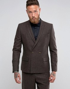 Коричневый двубортный пиджак с шевронным узором ASOS - Коричневый