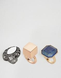 3 броских кольца с камнями ASOS - Мульти