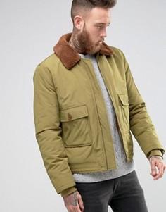 Куртка милитари цвета хаки с воротником борг ASOS - Зеленый