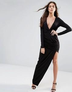 Платье макси с длинными рукавами и вырезом Hedonia - Черный