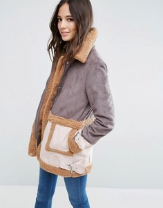 Пальто из искусственного меха в стиле пэтчворк ASOS - Мульти