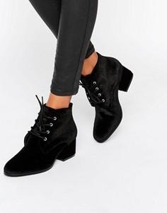 Бархатные ботильоны на среднем каблуке со шнуровкой London Rebel - Черный