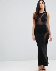 Платье макси с сетчатой отделкой и разрезами сбоку TFNC - Черный